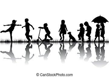 gioco, silhouette, bambini