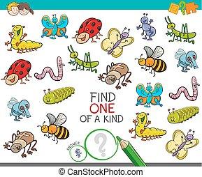 gioco, tipo, animali, insetto, uno