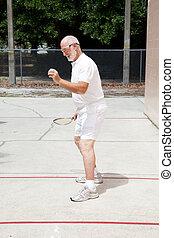gioco, uomo, anziano, adattare, racquetball