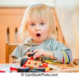 gioco, vecchio, bambino, two-year, costruttore, carino