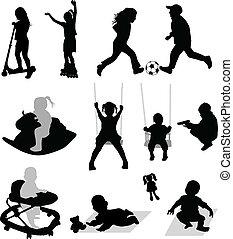 gioco, vettore, silhouette, bambini