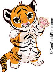 giocoso, tiger, carino, cucciolo