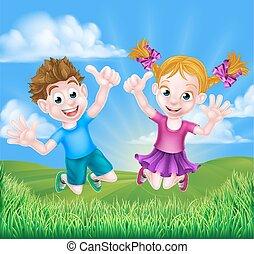 gioia, bambini, cartone animato, saltare