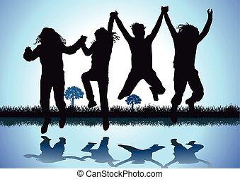 gioia, fare, salto, bambini