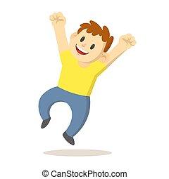 gioia, illustrazione, felice, isolato, ragazzo, vettore, fondo., cartone animato, character., salto, appartamento, bianco