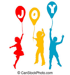 gioia, messaggio, palloni, bambini, presa a terra