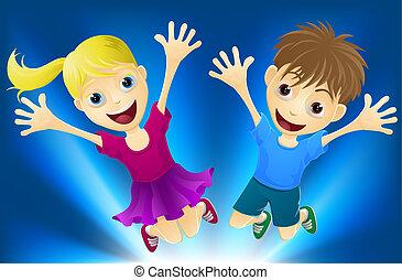 gioia, saltare, bambini, felice