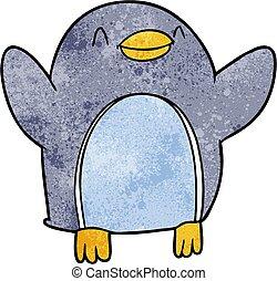 gioia, saltare, cartone animato, pinguino