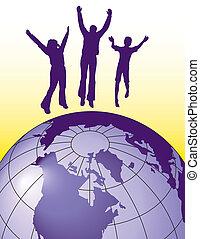 gioia, saltare, persone