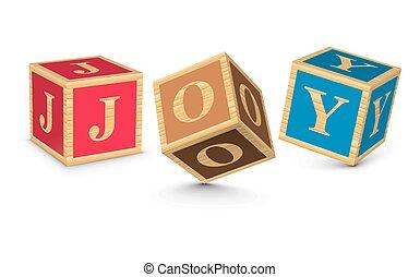 gioia, scritto, blocchi, parola
