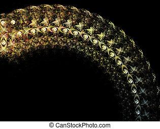 gioielleria, cornice, gioielli, illustrazione, fondo, fractal