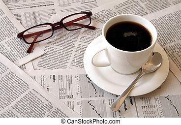 giornale, caffè, sopra