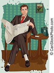 giornale, lettura, retro, uomo