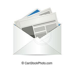 giornale, posta, disegno, illustrazione