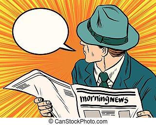 giornale, reazione, arte, pop, lettore