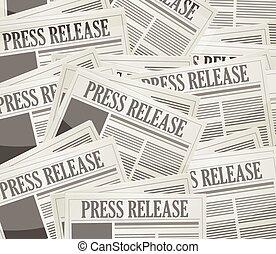 giornale, rilascio, premere