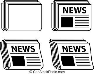 giornale, simboli, ondulato, nero, vettore