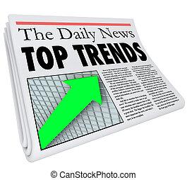giornale, storia, titolo, cima, relazione, tendenze, prodotti, popolare, articolo
