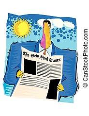 giornale, uomo affari, astratto, lettura, clipart