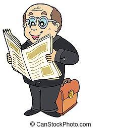 giornale, uomo affari, cartone animato