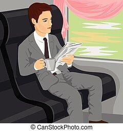 giornale, uomo affari, treno, lettura