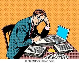 giornalista, scrittore, carta, thesis, redattore, accademico, laptop
