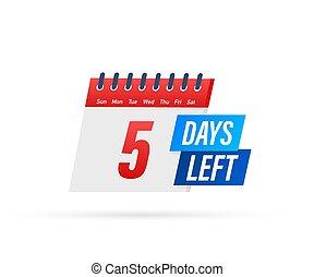giorni, illustration., vettore, fondo., icon., sinistra, bianco, appartamento, 5, etichetta