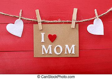 giorno, asse, madri, messaggio, sopra, legno, rosso, clothespins