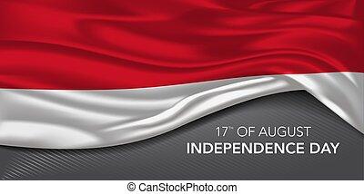 giorno, augurio, testo, vettore, scheda, indonesia, sagoma, bandiera, illustrazione, indipendenza