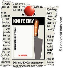 giorno, coltello, classifieds, giornale