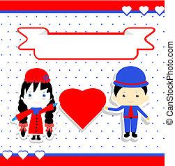 giorno, coppia, illustrazione, vettore, valentines