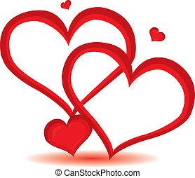 giorno, cuore, valentina, vettore, fondo., rosso, illustration.