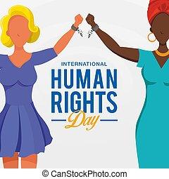 giorno, diritti, innalzamento, corsa, internazionale, mani, catene, persone, simbolo, differente, fondo., rotto, freedom., umano