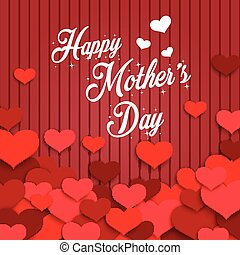 giorno, felice, madre, cuori, rosso