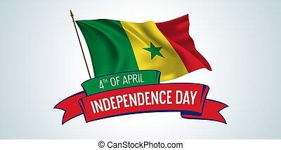 giorno, illustrazione, augurio, bandiera, testo, sagoma, vettore, senegal, scheda, indipendenza