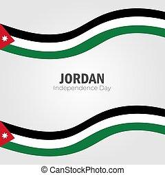 giorno, indipendenza, bandiera, sagoma, augurio, felice, testo, giordania, vettore, illustration., scheda