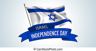 giorno indipendenza, bandiera, scheda, israele, augurio, vettore, illustrazione, testo, sagoma