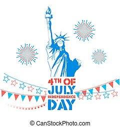 giorno indipendenza, quarto, luglio, felice, fondo, america