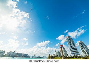 giorno luminoso, mondo, idrovolante, overflying, famoso, spiaggia, miami
