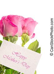 giorno, madri, felice, scheda, rosa, r
