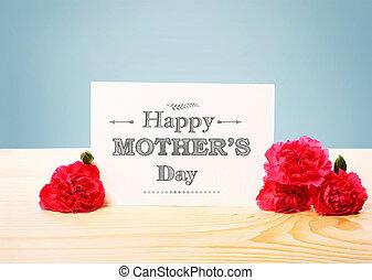 giorno, madri, scheda, carnetions, rosa