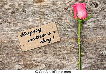 giorno, madri, scheda, rosa colore rosa