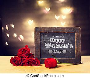 giorno, messaggio, felice, womans, rose
