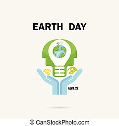 giorno, o, testa, globo, template., bulbo, manifesto, campagna, fondo., umano, concept., icona, vettore, mani, terra, disegno, luce, idea, astratto, illustrazione, scheda, logotipo, augurio