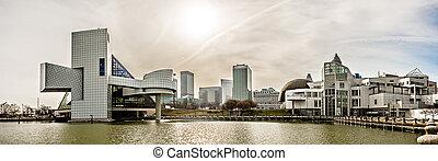 giorno, ohio, cleveland, skyline città