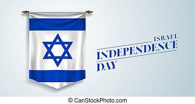 giorno, scheda, augurio, israele, vettore, illustrazione, bandiera, indipendenza