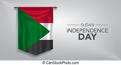 giorno, scheda, vettore, indipendenza, sudan, illustrazione, bandiera, augurio