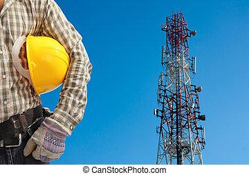 giorno, telecomunicazione, contro, blu, chiaro, dipinto, tecnico, torre, rosso, sky., bianco