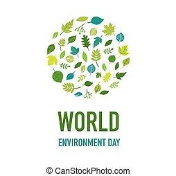 giorno, verde, mondo, ambiente, concetto, design., andare, vettore, illustrazione