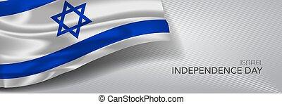 giorno, vettore, bandiera, augurio, israele, card., indipendenza